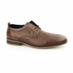 10620-24 TEX Mens Leather Derby Shoes Brown