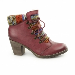 95323-35 Ladies Heeled Ankle Boots Red