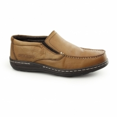 VICAR VICTORY Mens Leather Moccasin Loafers Tan
