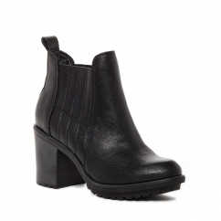 RAEGAN Ladies Block Heel Ankle Chelsea Boots Black
