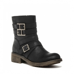 THROTTLE Ladies Zip Buckle Biker Ankle Boots Black