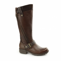 SUFFOLK Ladies Leather/Textile Zip Tall Boots Almond