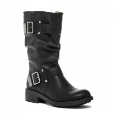 TRUMBLE Ladies Zip Up Buckle Biker Boots Black