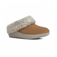 LOAFF™ SNUG Ladies Suede Mule Slippers Chestnut