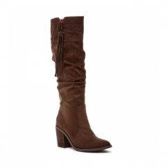 DAY Ladies Zip Block Heel Knee High Boots Brown