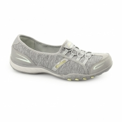 RELAXED FIT:BREATHE EASY-GOOD LIFE Ladies Slip-On Trainers Grey/Aqua