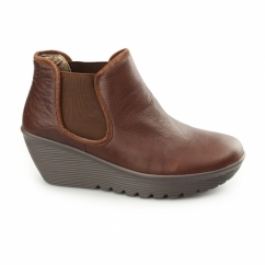 PARALLEL-DOUBLE GREAT Ladies Leather Wedge Chelsea Boots Brown