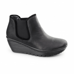 PARALLEL-DOUBLE GREAT Ladies Leather Wedge Chelsea Boots Black