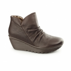 PARALLEL-UNIVERSE Ladies Leather Wedge Ankle Boots Chocolate