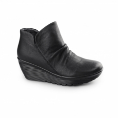 PARALLEL-UNIVERSE Ladies Leather Wedge Ankle Boots Black