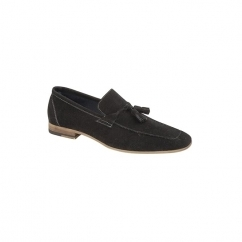 SCOTT Mens Faux Suede Tassel Loafer Shoes Black