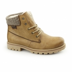 Z1420-24 Ladies Warm Lined Lace Up Ankle Boots Brown