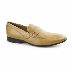 RANLYN SLIP Mens Leather Slip On Loafers Tan