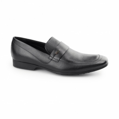 RANLYN SLIP Mens Leather Slip On Loafers Black