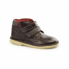 ADLAR TWIN Kids Leather Touch Fastened Desert Boots Dark Brown