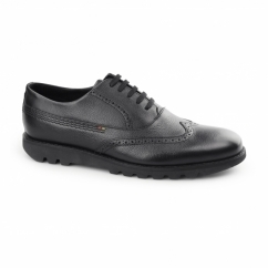 KYMBO BROGUE Mens Leather Oxford Shoes Black