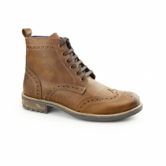DRAGOON Mens Waxy Leather Brogue Derby Boots Tan