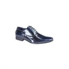 HENDRICK Mens Lace-Up Chisel Toe Shoes Navy