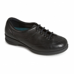 KAREN Ladies Leather Super Wide Plus Trainers Black