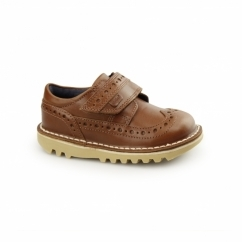 KICK LONGWING Kids Leather Touch Fastened Brogues Tan