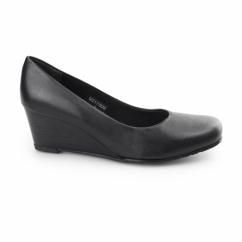 MARGO Ladies Leather Wide Fit Wedge Heels Black