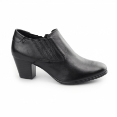 LUCIA Ladies Leather Wide Fit Boot Heels Black