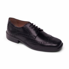 REID Mens Leather Wide Oxford Brogue Shoes Black Polished
