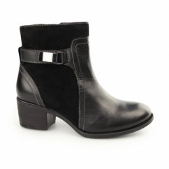 FONDLY NELLIE Ladies Leather Suede Ankle Boots Black