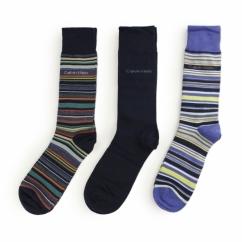 MULTI STRIPE Mens Cotton Socks 3 Pack Navy Stripe/Navy/Royal Blue Stripe