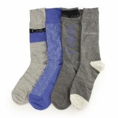 PLAIN CREW Mens Cotton Socks 4 Pack Light Grey/Grey/Blue