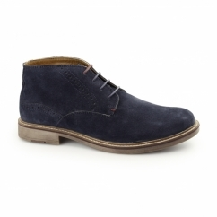 HOUSTON Mens Suede Leather Chukka Boots Navy