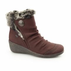 Y0363-35 Ladies Wedge Wide Fit Ankle Boots Wine
