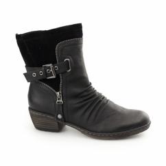 93761-01 Ladies Zip Buckle Biker Boots Black