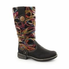 74663-00 Ladies Patterned Long Boots Black/Multi