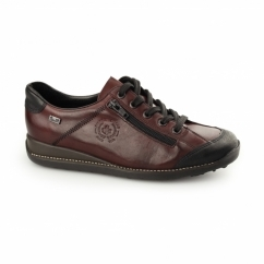 44221-00 TEX Ladies Leather Lace Up Trainers Red Combi