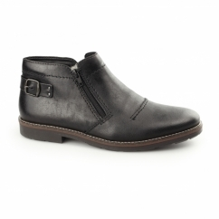 35362-00 Mens Leather Twin Zip Warm Boots Black