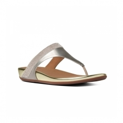 BANDA MICRO-CRYSTAL™ Ladies Toe Post Diamante Sandals Pale Gold