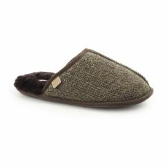 RUSSEL Mens Sheepskin Mule Slippers Tweed