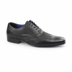 CARN Mens Leather/Suede Smart Brogues Black/Dark Grey