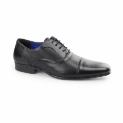 POTTON Mens Leather Toe Cap Oxford Black