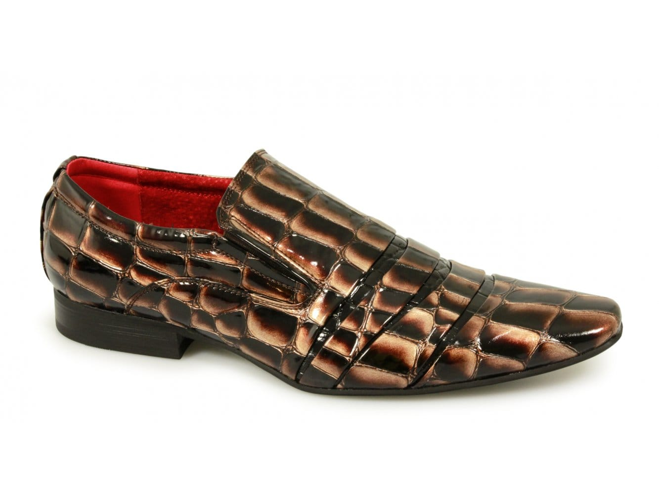 mens reptile skin leather lined slip on shiny formal dress