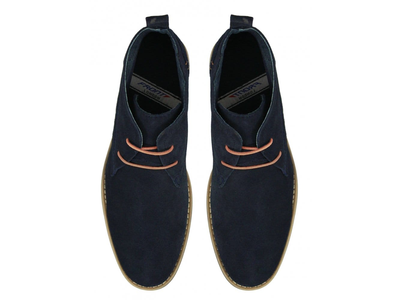 Front ROSCOE Mens Suede Leather Lace-Up Casual Desert Boots Sand/Navy Blue/Grey
