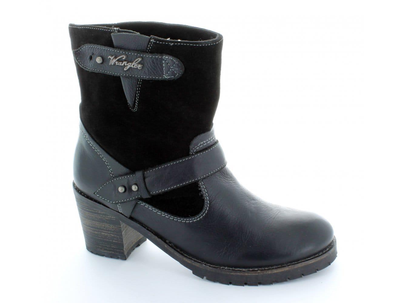 wrangler boot womens leather suede block heel