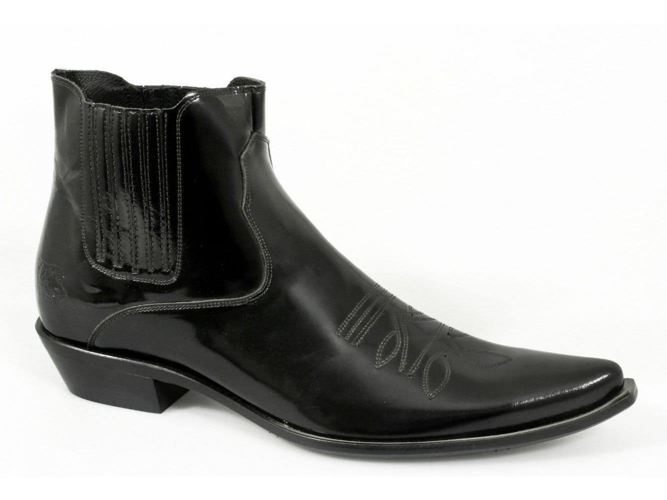 etor mens patent leather pointed embroidered western