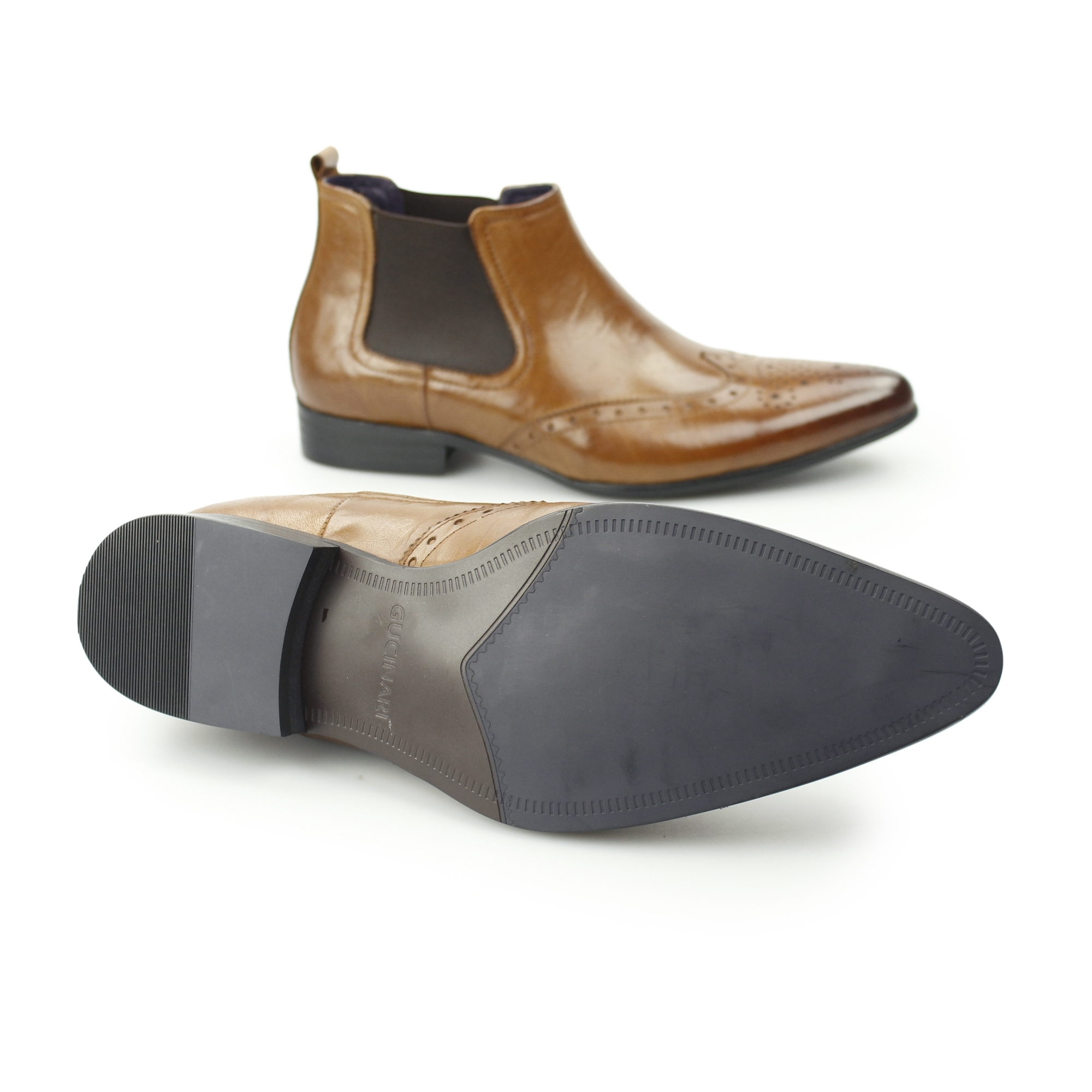 Gucinari ELBA Mens Leather Pointed Formal Smart Pull On Brogue Chelsea Boots