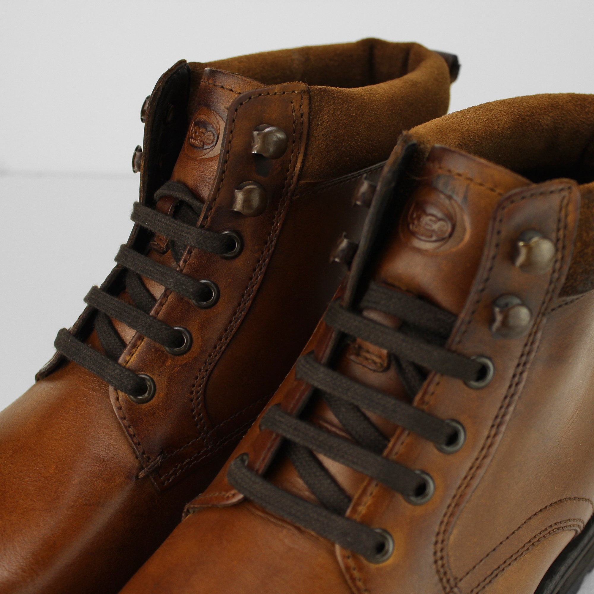 ec48f529b74 Details about Base London PANZER Mens Washed Leather Lace Up Casual Comfy  Derby Ankle Boots