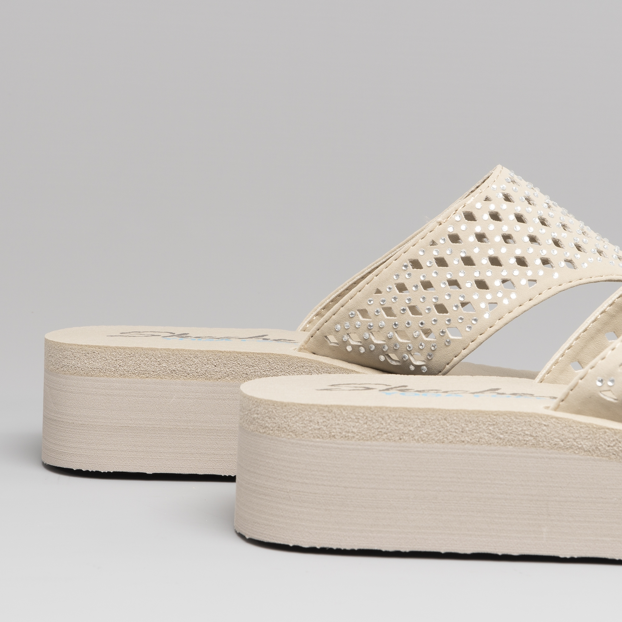 Skechers-38648-VINYASA-FLOW-Ladies-Womens-Wedge-Beach-Thong-Toe-Post-Flip-Flops