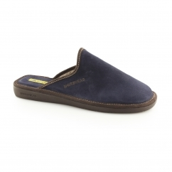 131 (AFELPADO) Mens Suede Leather Mule Slipper Marine Blue