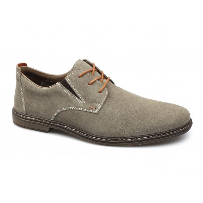 Rieker 13411-21 Mens Suede Lace-Up Wide Fit Shoes Brown