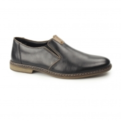 Rieker 13462-00 Mens Leather Slip On Shoes Black